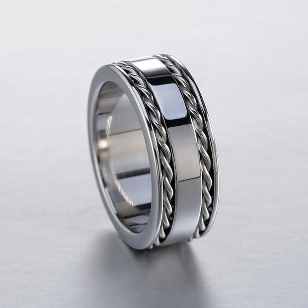 silver polished 2 lines twisted band ring