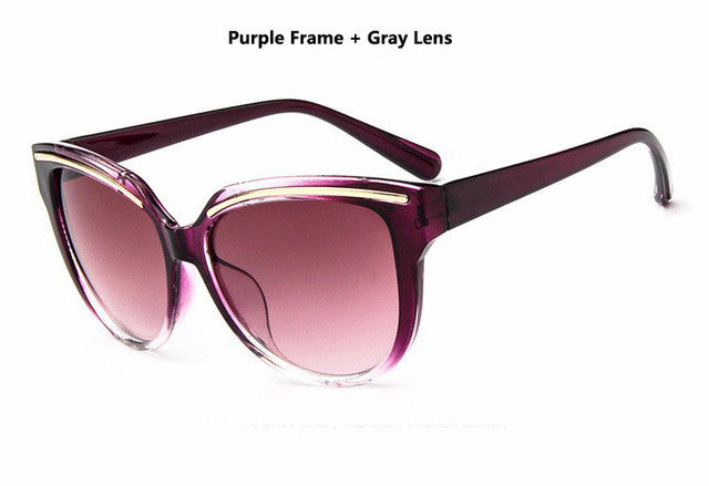 woman cat eye frame mirror sun glasses