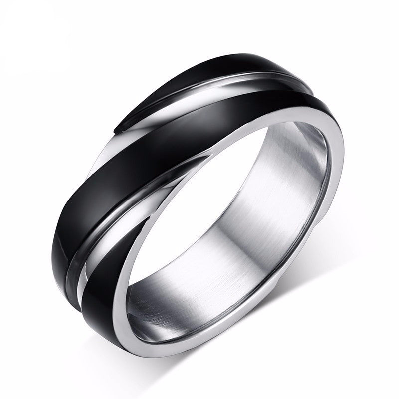 geometric black stainless steel ring for men