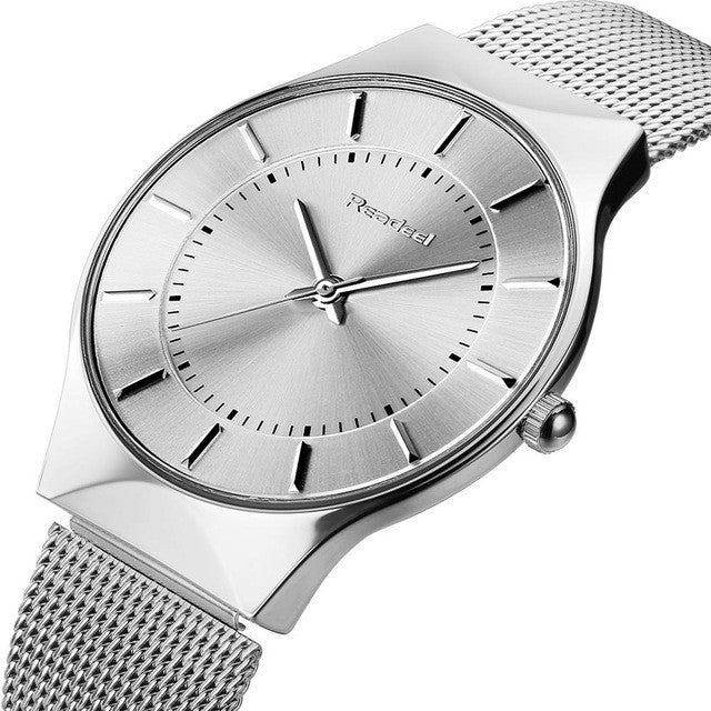 Ultra Thin Silver and Blue Business Classy Watch