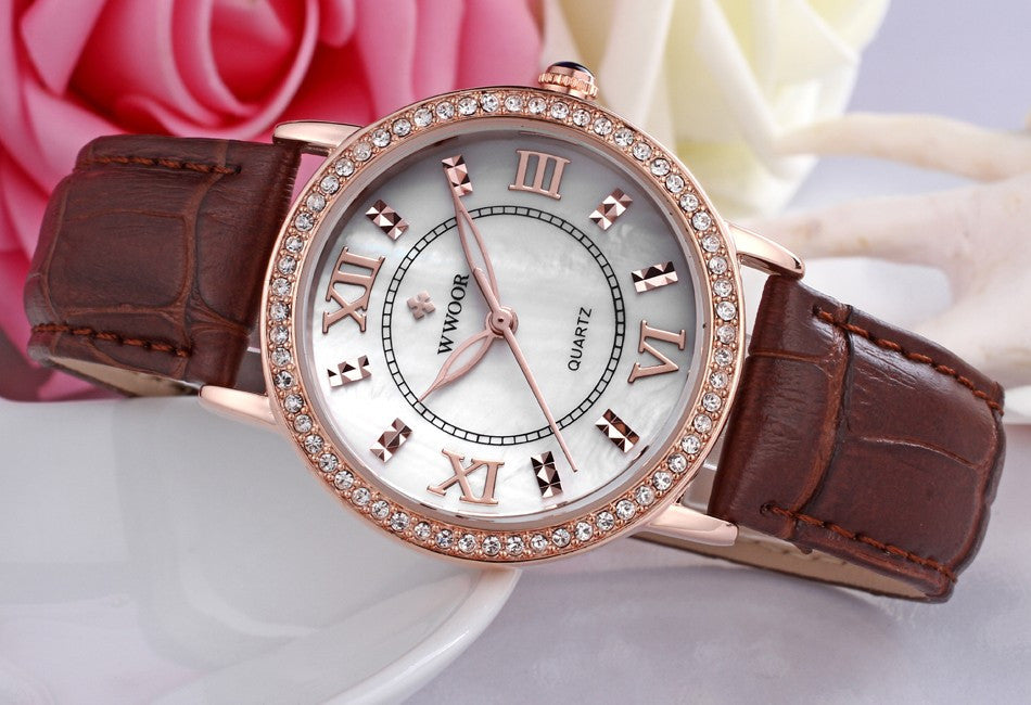Rose Gold Luxury Women's Watch with Premium Red Leather