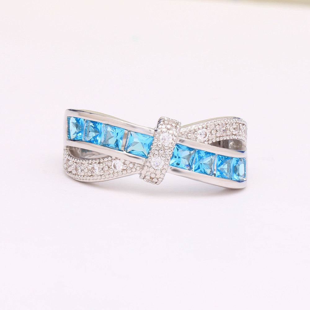 sky blue cross finger ring