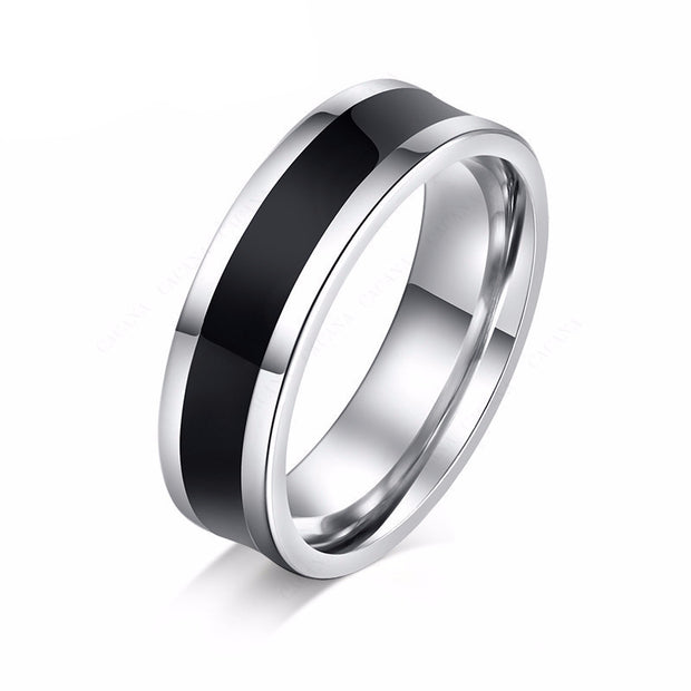 Stainless Steel Ring Black and Silver