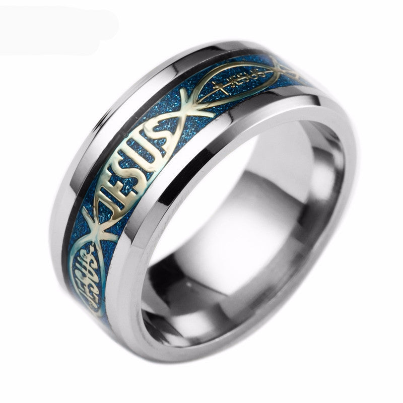 silver and blue Jesus ring
