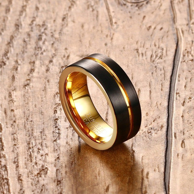 Matte Black Tungsten Carbide Ring With Thin Gold Line