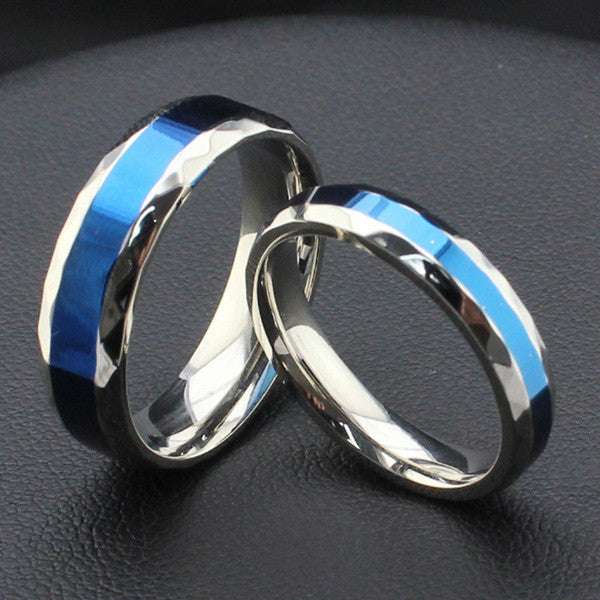 titanium steel ring silver and blue