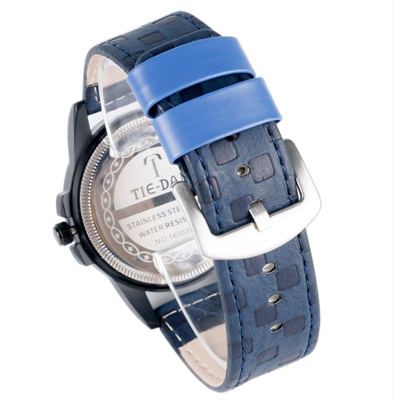 TIE-DAN Quartz Watches With Blue Leather Strap For Business Men