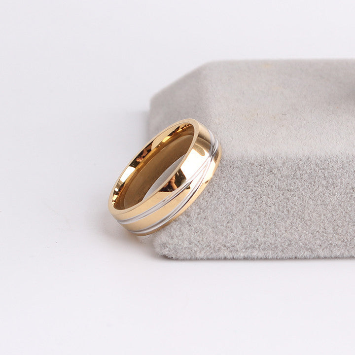 golden cross stripe wedding ring