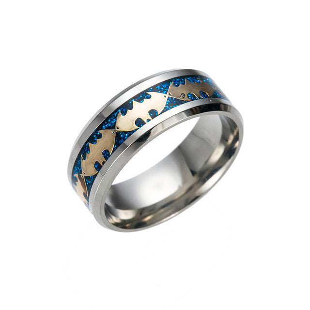 Retro Style Batman Ring blue and silver