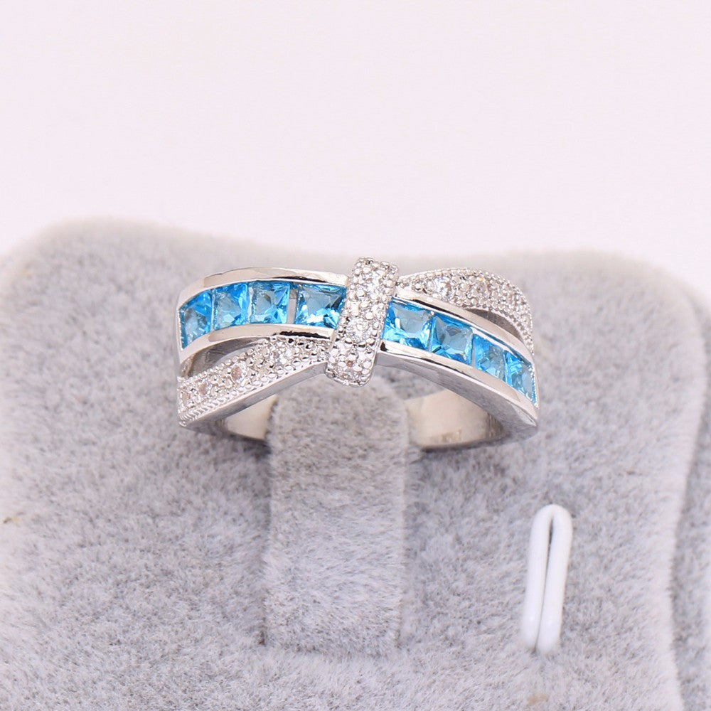 cross finger ring sky blue ring