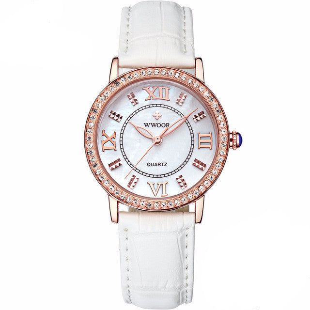 Rose Gold Luxury Women's Watch with Premium White Leather