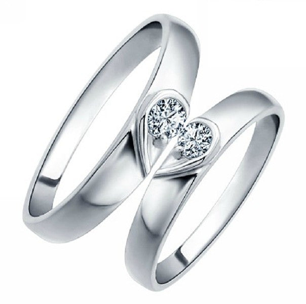 Heart Silver Anel Couple Wedding Rings