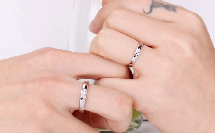 couple ring silver heart anel