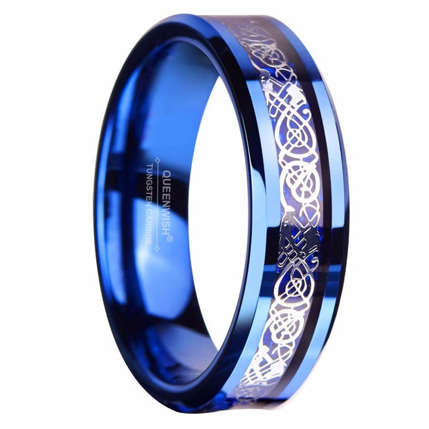 Dragon Blue Tungsten Ring