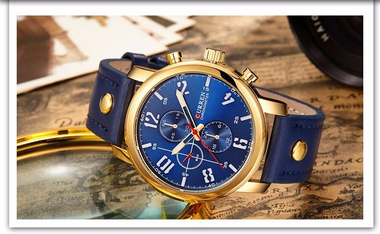 Gold and Blue Classic Luxury Watch