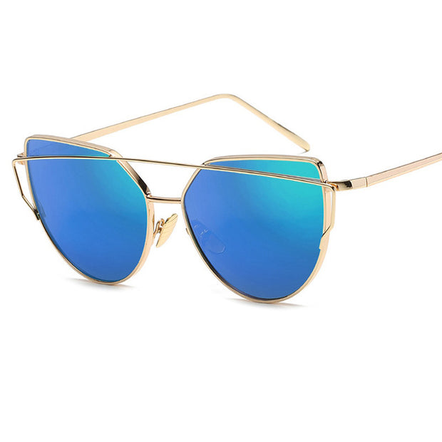 Stylish Eye Cat Sunglasses for Women - Gold Frame w/ Blue Lenses