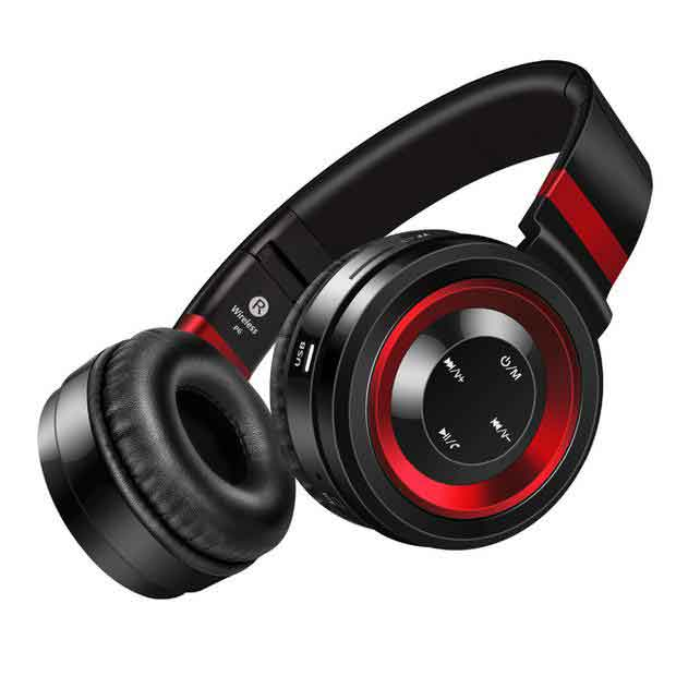 P6 Wireless Bluetooth Headphone w/ Mic - RED