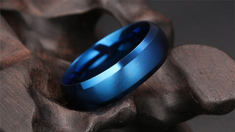 matte finish stainless steel blue ring