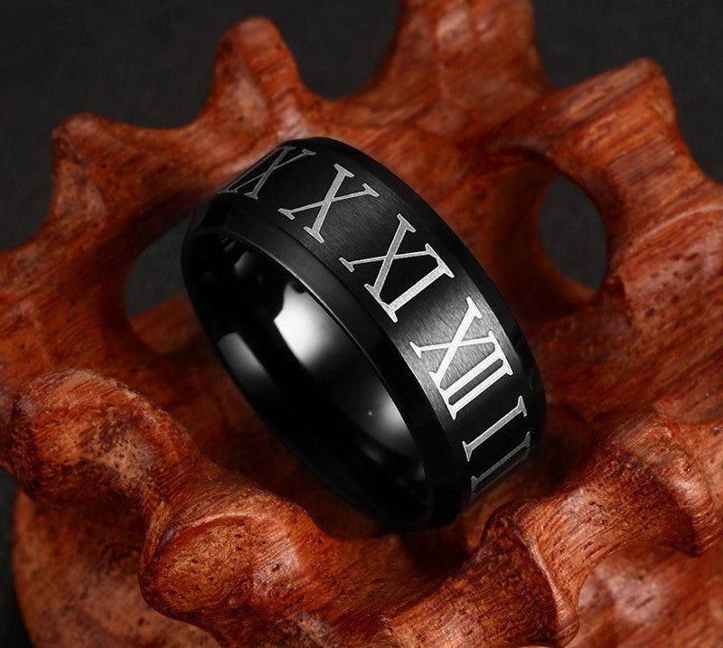 roman numeral black ring for men