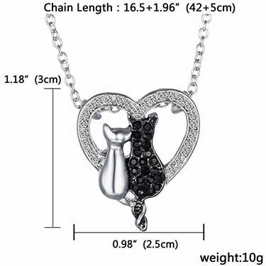 2 Cats In Heart Crystal Pendant Necklace