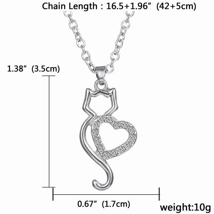 necklace pendant cat with heart crystal