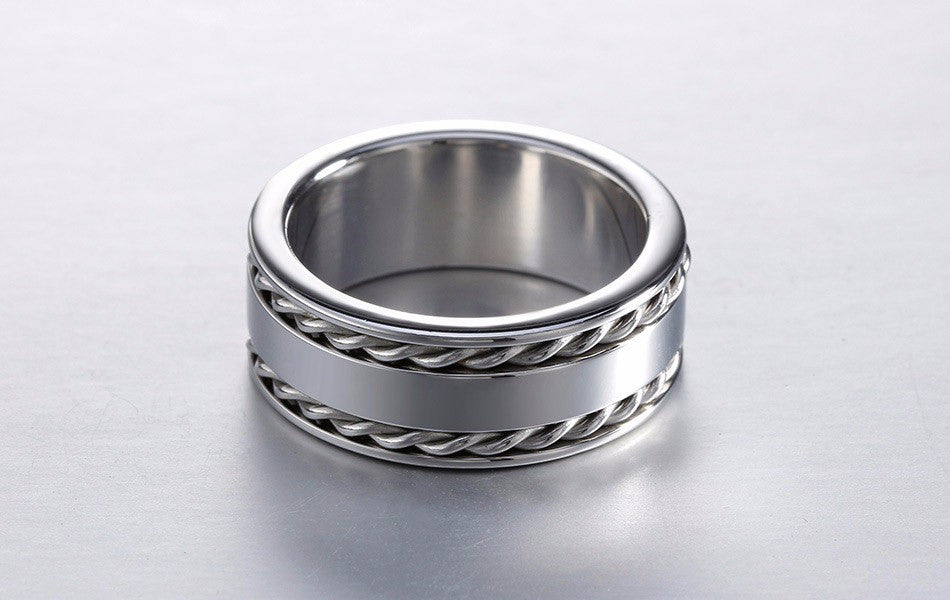 silver twisted 2 lines band ring