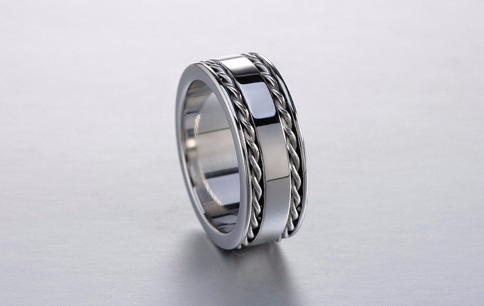 2 lines silver twisted band ring