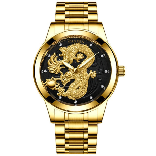 Gold Dragon Skeleton Automatic Watch