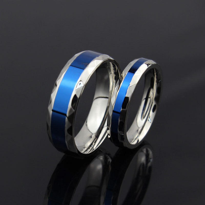 silver and blue titanium ring