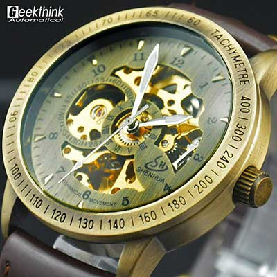 Antique Style Bronze Skeleton Watch With Leather Strap