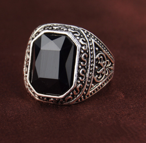 black Carved Stone Antique ring
