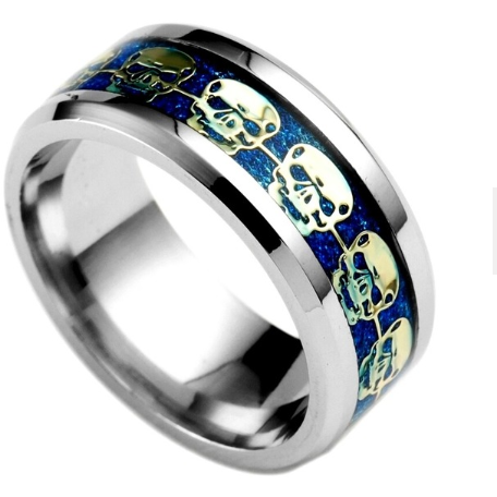 silver and blue skul ring