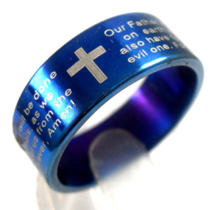Bible Lord's Prayer Cross Ring blue
