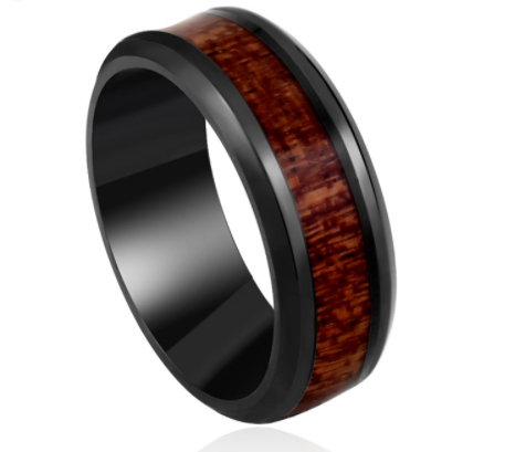 Black Ring with Dark Red Wood inlay inside