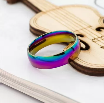 Rainbow Colorful Ring Titanium Steel Wedding Band Ring