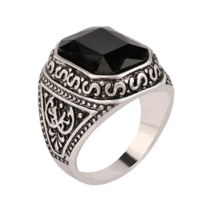 black Carved Stone Antique Silver Color Ring