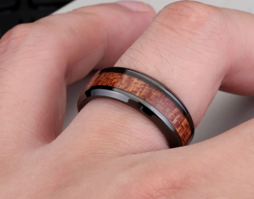 black and red wood ring
