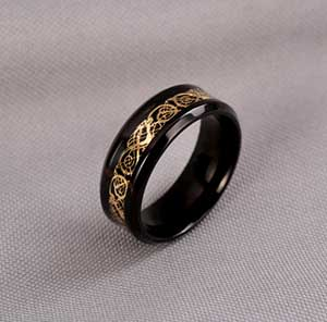 """Black and Gold"" Dragon Ring"