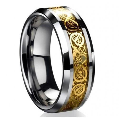 Gold Steel Viking Ring