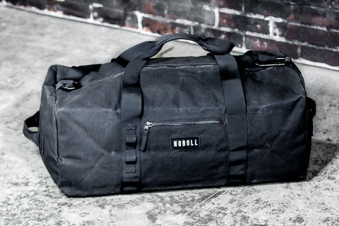 XL WAXED CANVAS TRADITIONAL DUFFLE (BLACK)