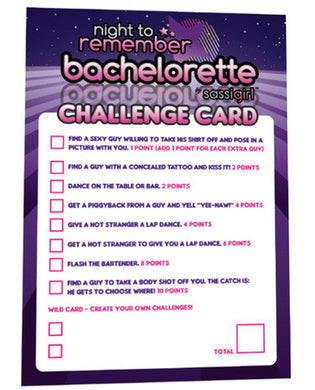 A night to remember bachelorette challenge cards