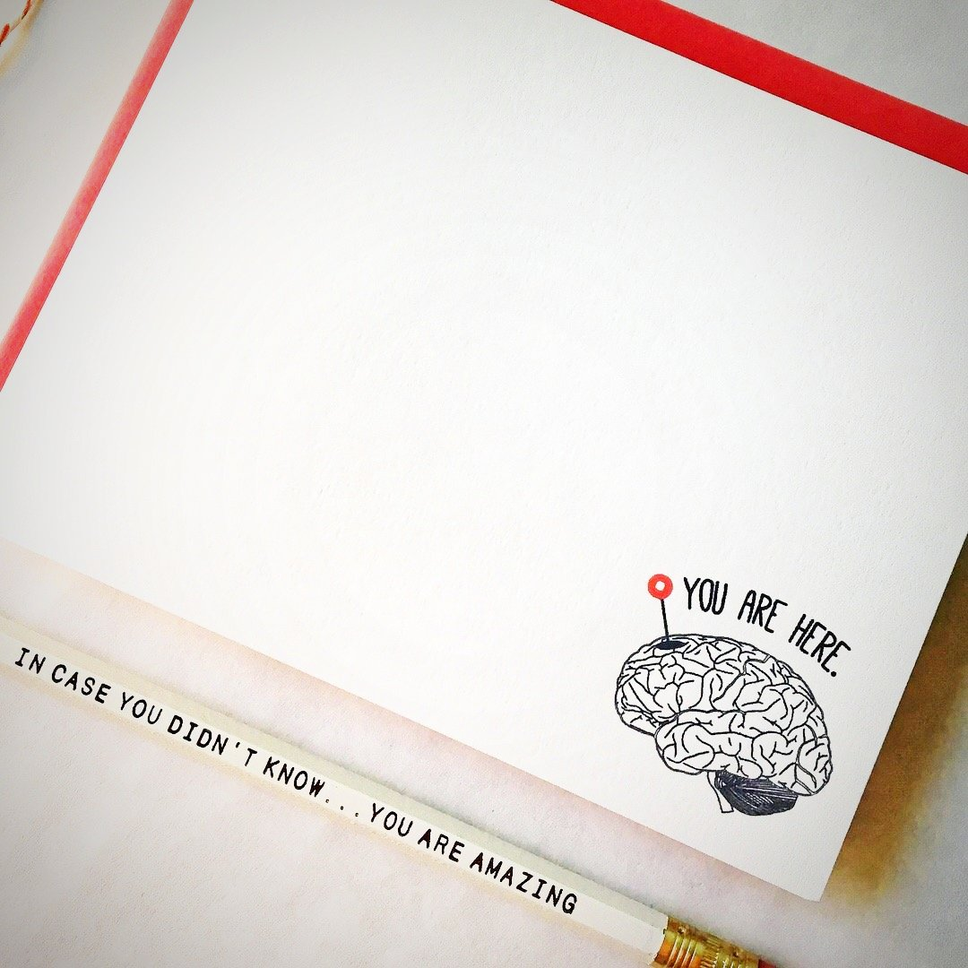 You are Here Brainy Stationery Set | Blank Note Cards