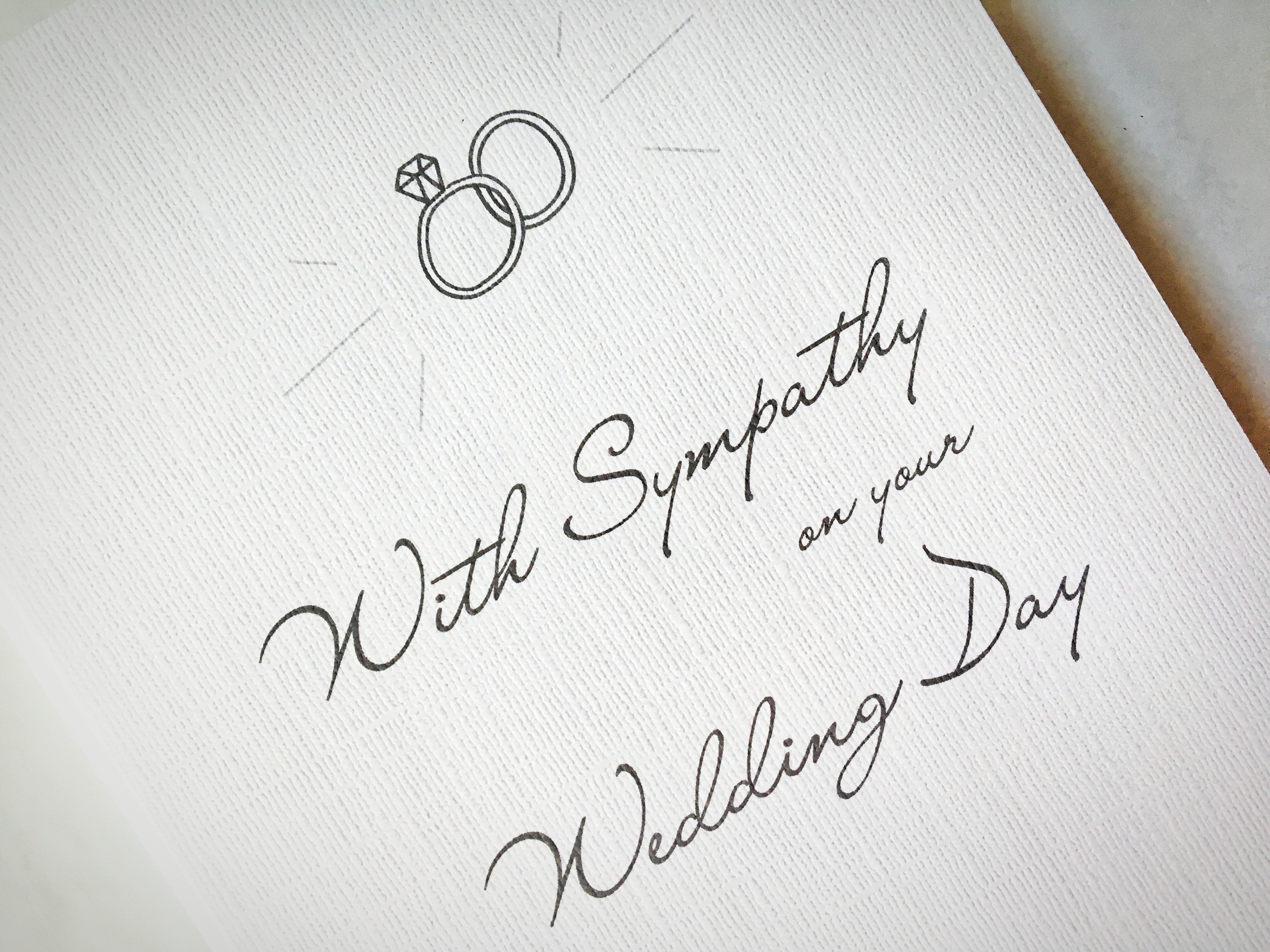 With Sympathy on Your Wedding Day | A Snarky Wedding Card