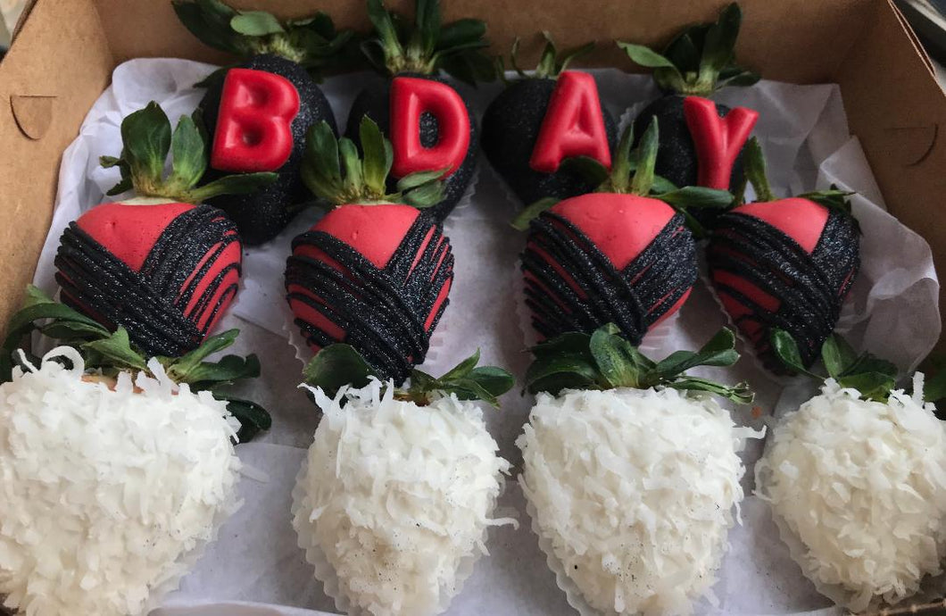 Red & Black Coconut B-Day Strawberries