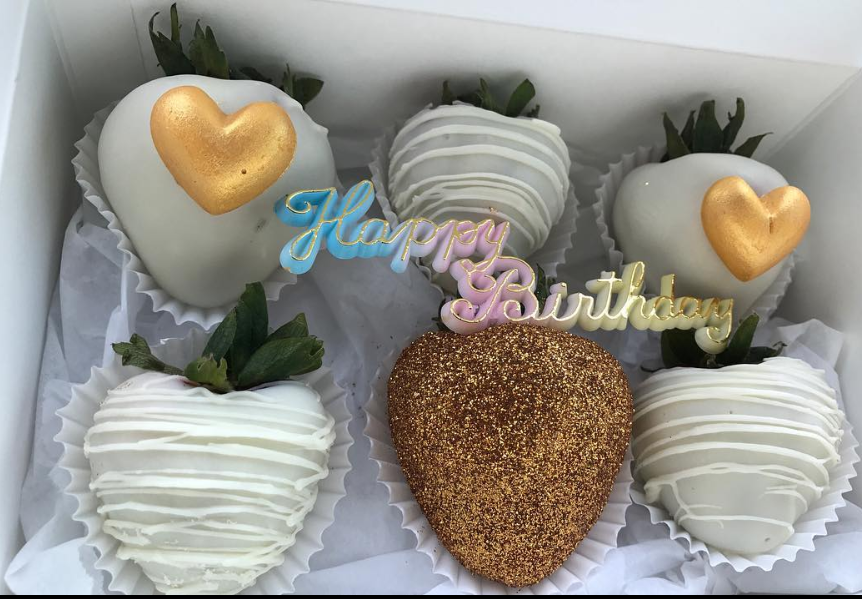 Gold & White Birthday Strawberries