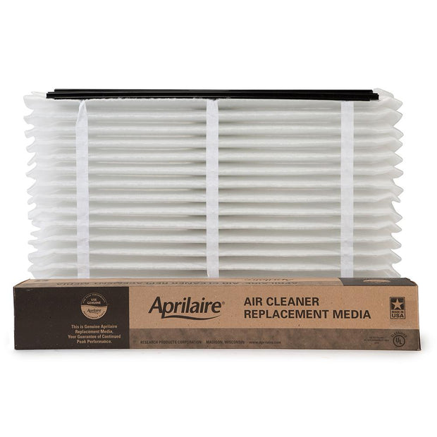 Aprilaire 810 air filter shown expanded with package