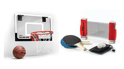door basketball hoop and tabletop tennis to go