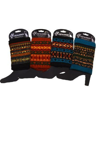 Women's Short Leg Warmer Fair Isle Ski Sweater: Multi Color Leg Warmer MomMe and More
