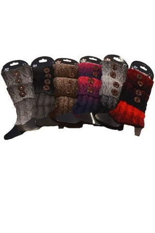 Women's Short Leg Warmer Boot Cuff Button Accent: Ombre Leg Warmer MomMe and More