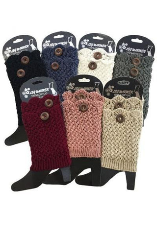 Women's Short Leg Warmer Scallop Edge Button Accent Leg Warmer MomMe and More